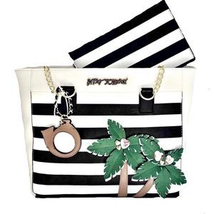 Betsey Johnson Striped Palm Tree Tote with Pouch